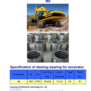 slewing bearing for bobcat excavator 80