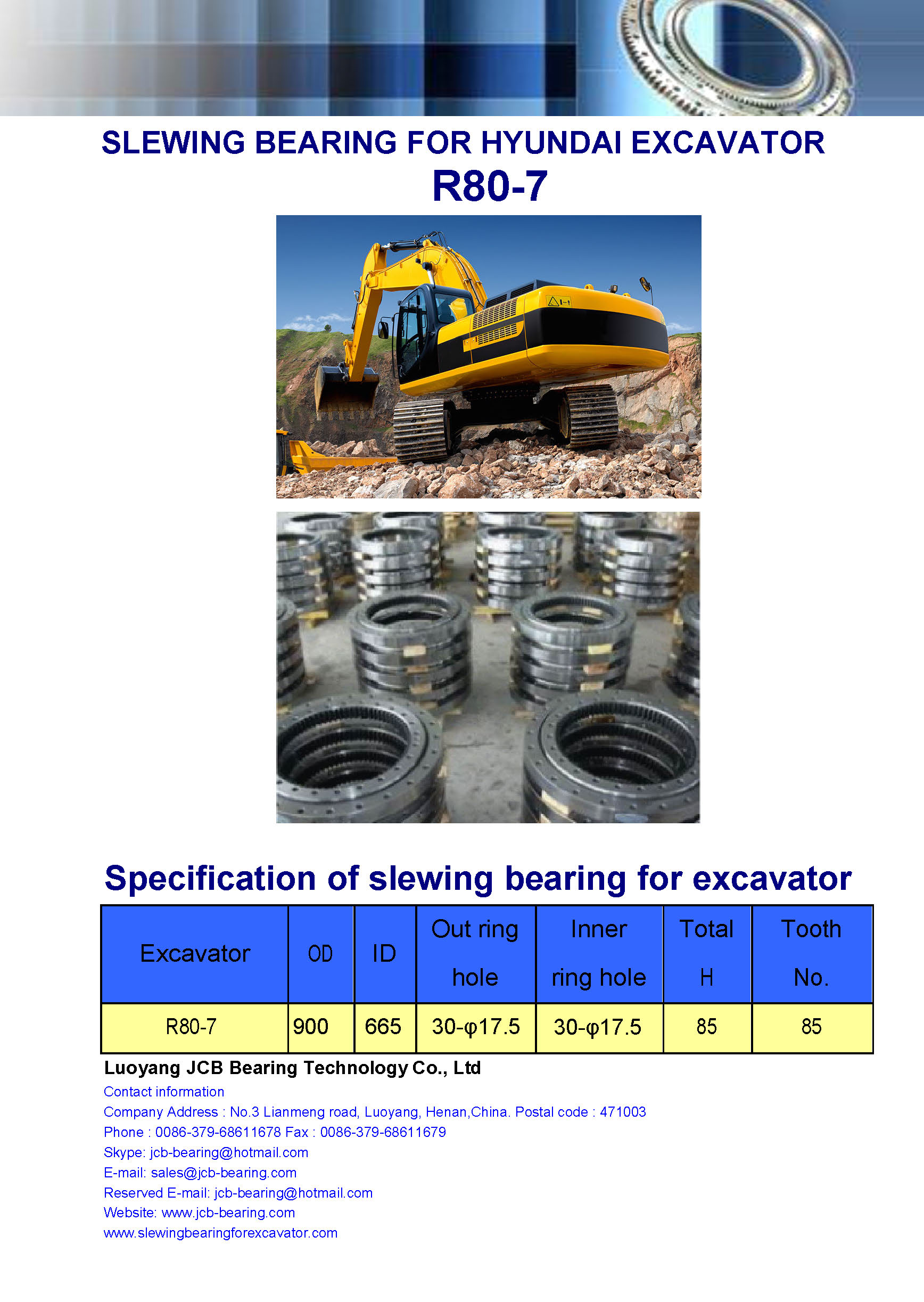 slewing bearing for hyundai excavator R80-7