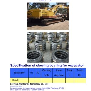 slewing bearing for kato excavator HD770