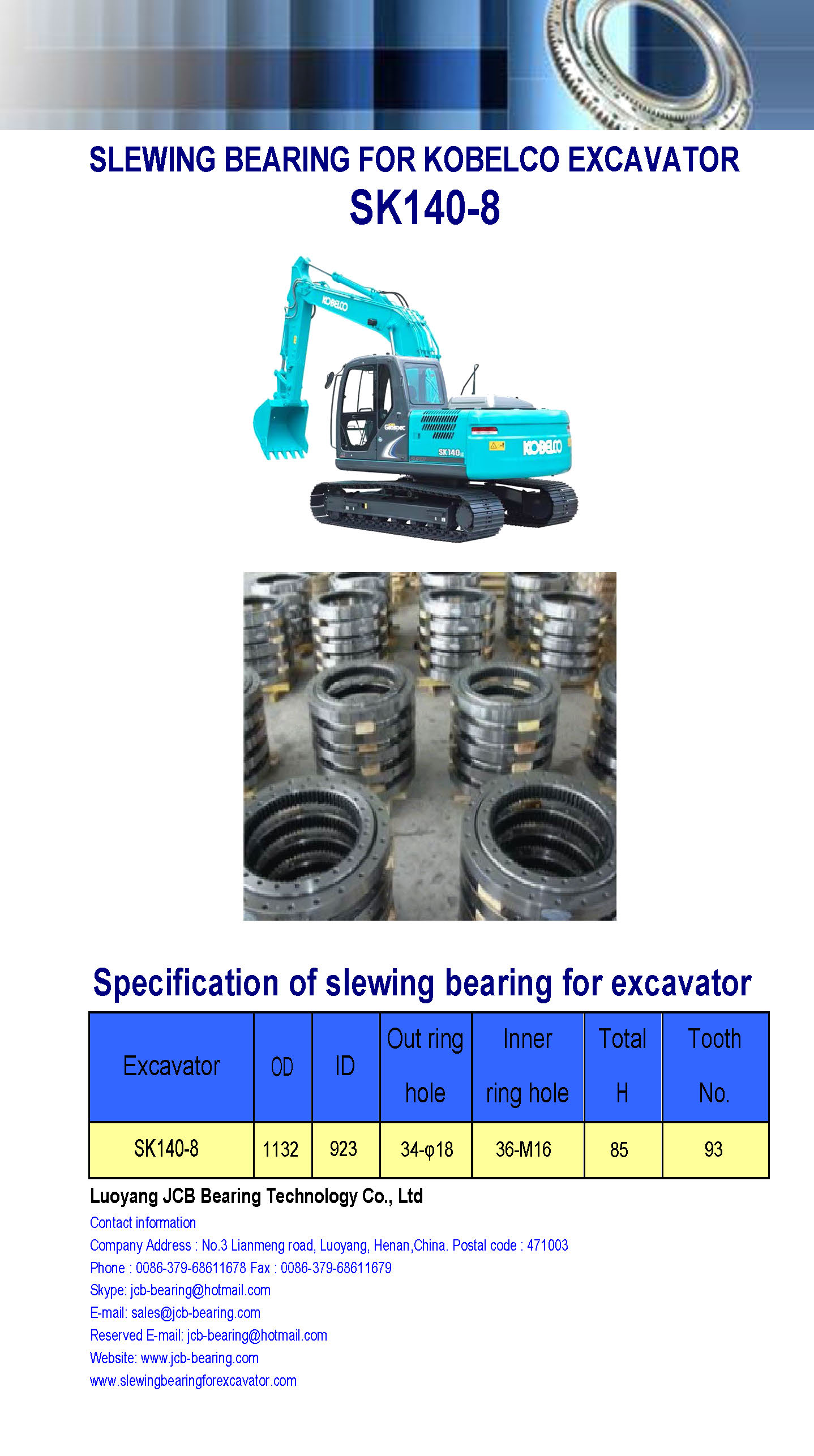 slewing bearing for kobelco excavator SK140-8 (swing bearing)
