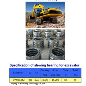 slewing bearing for pengpu excavator SW230 tooth 88