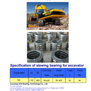 slewing bearing for takeuchi excavator 135