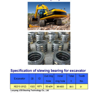 slewing bearing for xcmg excavator XE210 tooth 91
