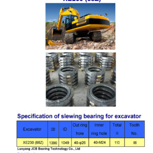 slewing bearing for xcmg excavator XE230 tooth 88