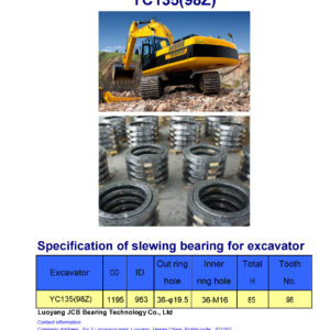 slewing bearing for yuchai excavator YC135 tooth 98